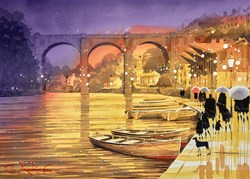 Moored for the Night by Peter J Rodgers - Original Painting on Paper sized 28x20 inches. Available from Whitewall Galleries
